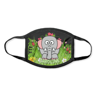Custom Name Elephant Zoo Modern Cartoon Animal Face Mask