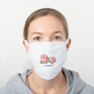 Custom Name Floral White Cotton Face Mask