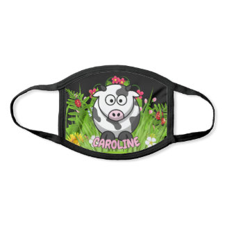 Custom Name Funny Cow Modern Cartoon Animal Face Mask