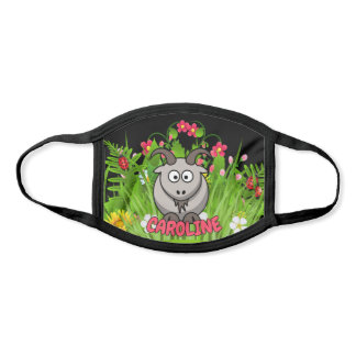 Custom Name Funny Goat Modern Cartoon Animal Face Mask
