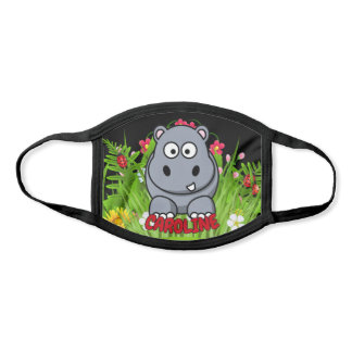 Custom Name Hippo Zoo Modern Cartoon Animal Face Mask