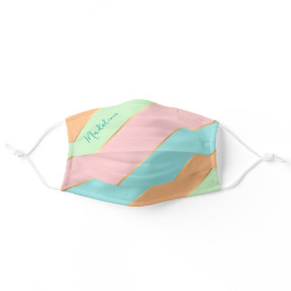 Custom Name Mint Green Turquoise Blue Pink Stripes Adult Cloth Face Mask