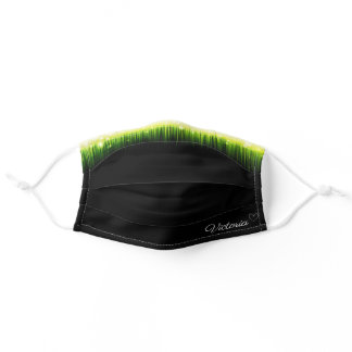 Custom Name Modern Bright Green Shimmery on Black Adult Cloth Face Mask