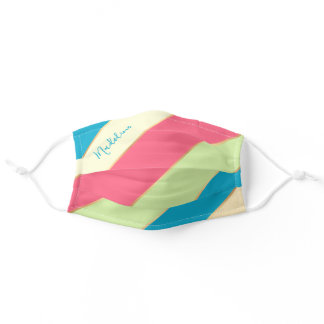 Custom Name Ocean Blue Green Coral Pink Stripes Adult Cloth Face Mask