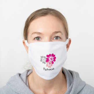 Custom Name Pink Floral Personalized White Cotton Face Mask