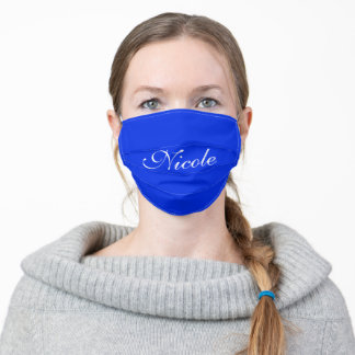 Custom Name Royal Blue Adult Cloth Face Mask