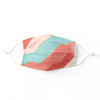 Custom Name Summer Coral Pink Ocean Green Stripes Adult Cloth Face Mask