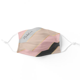 Custom Name Taupe Gray Pastel Blush Pink Stripes Adult Cloth Face Mask