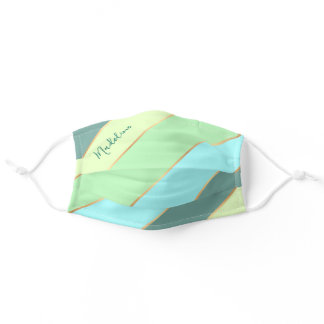 Custom Name Teal Blue Turquoise Mint Green Stripes Adult Cloth Face Mask