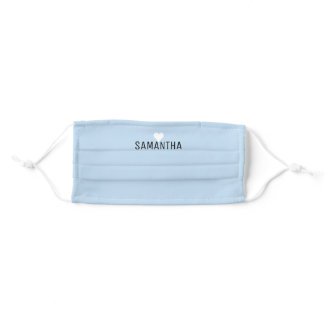 Custom Name White Heart Solid Color Baby Blue Adult Cloth Face Mask
