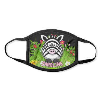 Custom Name Zebra Zoo Modern Cartoon Animal Face Mask