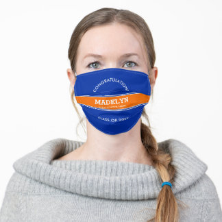 Custom Orange and Blue College Sports Graduation Adult Cloth Face Mask
