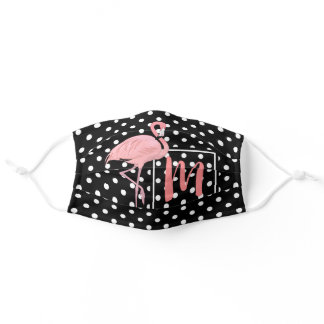 Custom Pink Watercolor Flamingo White Polka Dots Adult Cloth Face Mask