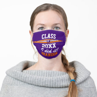 Custom Purple and Orange College Sports Graduation Adult Cloth Face Mask