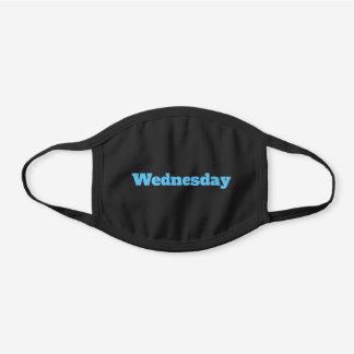 Custom Sky Blue Text or Day of the Week for Him Black Cotton Face Mask