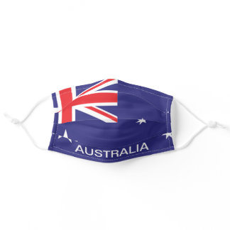 Custom Text Australia Flag Red White & Blue Aussie Adult Cloth Face Mask