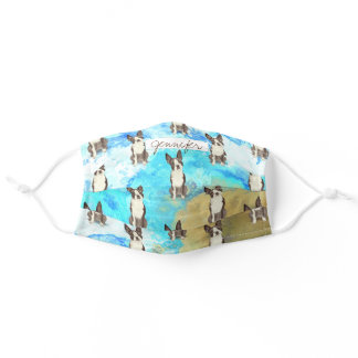 Custom text cute Terrier Seaside inspired washable Adult Cloth Face Mask