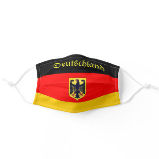 Custom Text Germany Flag Red Black & Gold Eagle Adult Cloth Face Mask