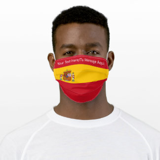 Custom Text Red/Yellow Spain Flag Spanish Bandera Adult Cloth Face Mask