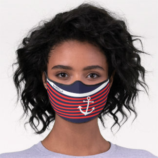 Custom White Anchor Coral Red Dark Blue Stripes Premium Face Mask