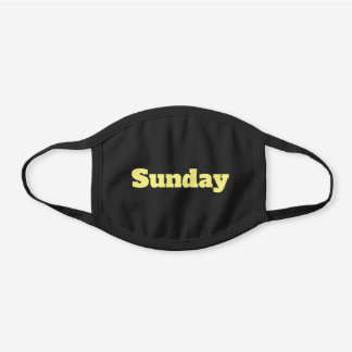 Custom Yellow Text or Day of the Week Black Cotton Face Mask