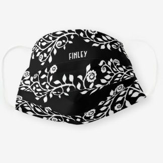 Customizable Black and White Floral Swirls Chic Cloth Face Mask