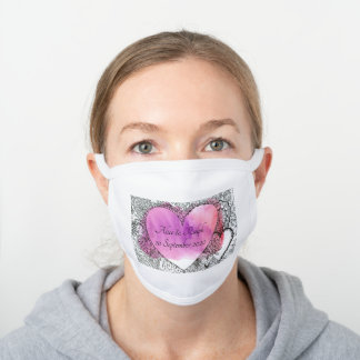 Customizable Heart Wedding White Cotton Face Mask