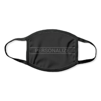 Customizable Text | Bold Modern Black & Dark Grey Face Mask