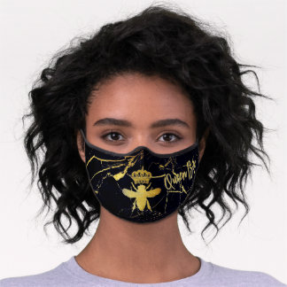 Customize Modern QUEEN BEE Gold & Black Marble Premium Face Mask