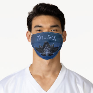 Customize ZEN AS F*CK Navy Blue Lotus Lily Flower Adult Cloth Face Mask