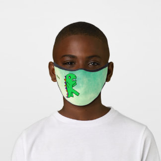 Customized Green T-Rex Dinosaur Cartoon Forest Premium Face Mask