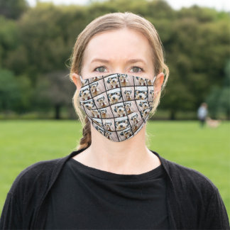 Cute 4 Photo Collage pattern - black Adult Cloth Face Mask