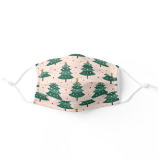 Cute Abstract Forest Green Christmas Tree Pattern Adult Cloth Face Mask