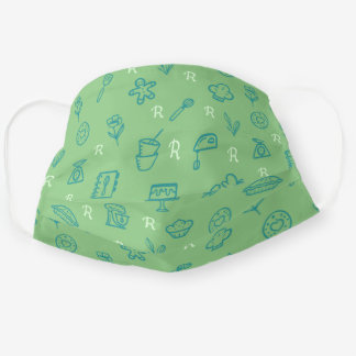 Cute Adorable Green Baking Icon Pattern & Monogram Cloth Face Mask