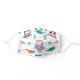 Cute And Colorful Owl Design Adult Cloth Face Mask