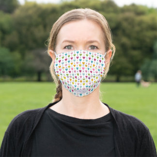 Cute and Colorful Seamless Hearts Pattern Monogram Adult Cloth Face Mask