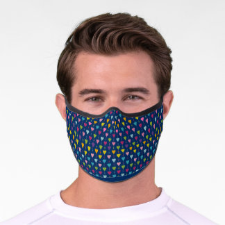 Cute and Colorful Seamless Hearts Pattern Premium Face Mask