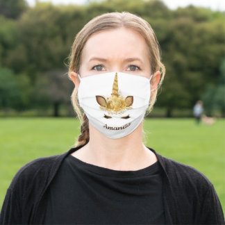Cute Animal Unicorn Face Horn Personalized gold Adult Cloth Face Mask