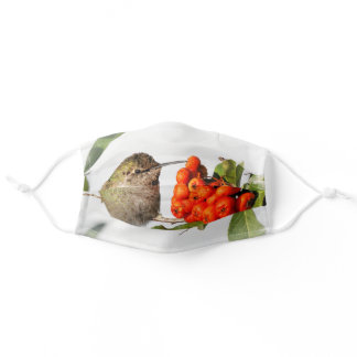 Cute Anna's Hummingbird with Orange Berries Adult Cloth Face Mask