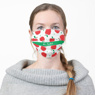 Cute Apples Pattern & Name Teachers Adult Cloth Face Mask