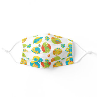 Cute Baby Dinosaurs and Dinosaur Eggs Pattern Adult Cloth Face Mask