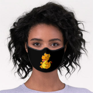 Cute baby dragon spitting fire premium face mask