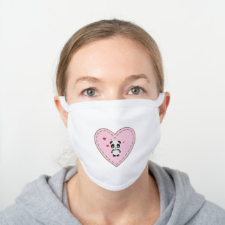 Cute Baby Panda in Light Pink Heart with Stitches White Cotton Face Mask
