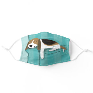 Cute Beagle Sleeping on Couch | Fun Dog Lover's Adult Cloth Face Mask