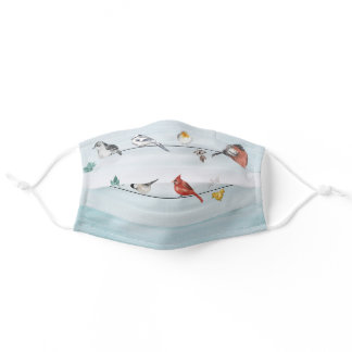 Cute Birds on Wire Leaves Watercolor Adult Cloth Face Mask