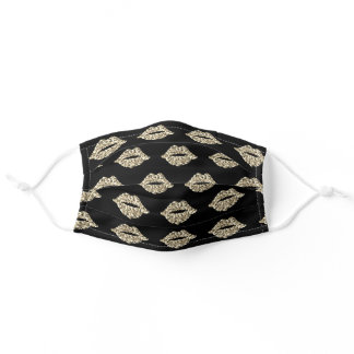 Cute Black and Gold Glitter Kisses Pattern Adult Cloth Face Mask