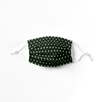Cute Black And Neon Lime Green Polka Dots Pattern Kids' Cloth Face Mask