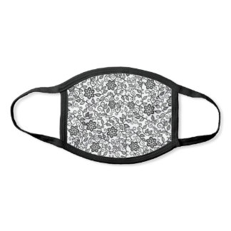 Cute Black And White Simple Classy Floral Paisley Face Mask