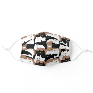 Cute Black, Brown and White Kitty Cats Adult Cloth Face Mask