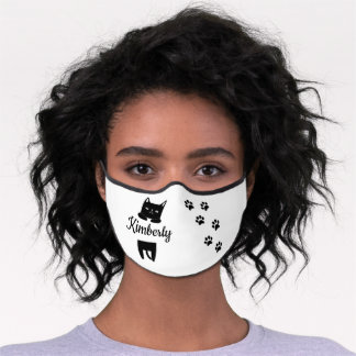 Cute black cat & paw prints with name premium face mask